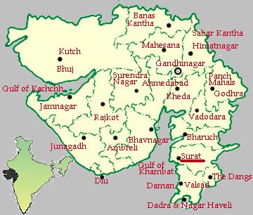 Surat-Gujarat map